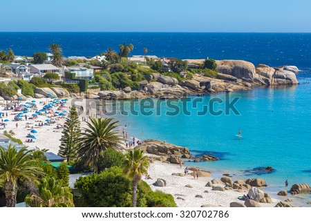Beautiful day in Camps Bay in Cape town, South Africa - stock photo