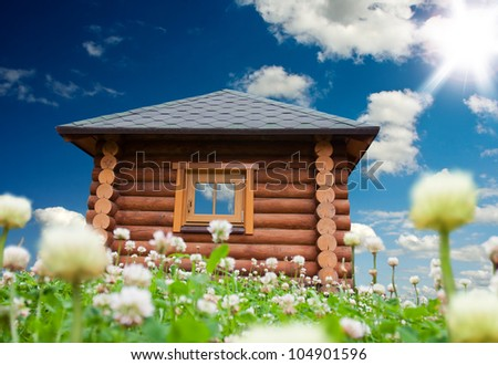 Beautiful day landscape with small house on flowers meadow - stock photo
