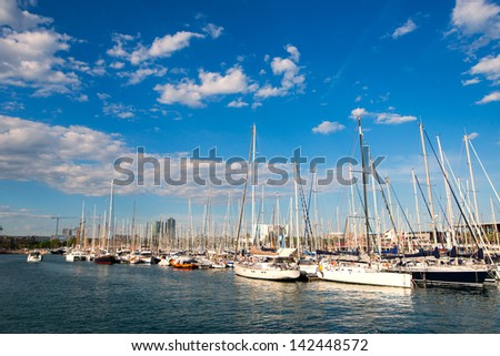 beautiful day landscape with yachts in the port