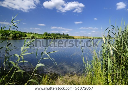 Beautiful day on the lake - stock photo