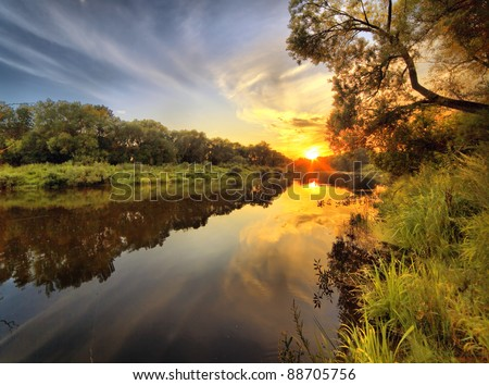 Beautiful decline on the wood river - stock photo