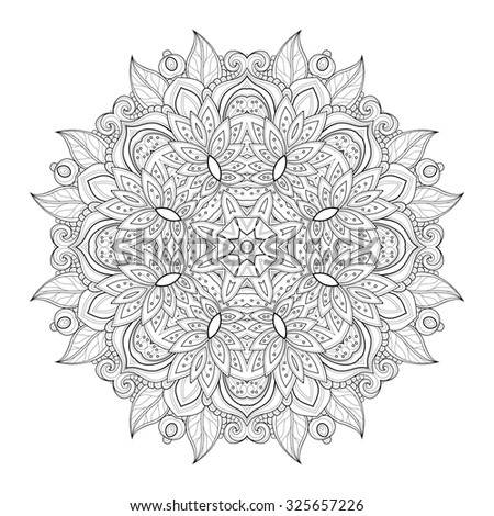 Beautiful Deco Black Mandala, Patterned Design Element, Ethnic Amulet - stock photo