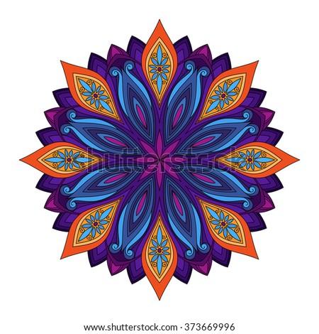 Beautiful Deco Colored contour Mandala, Patterned Design Element, Ethnic Amulet - stock photo