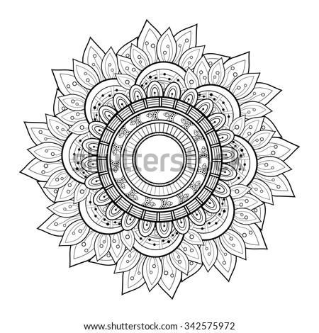 Beautiful Deco Monochrome Contour Mandala, Patterned Design Element, Ethnic Amulet - stock photo