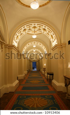 beautiful decorated arched hallway in classic design - stock photo