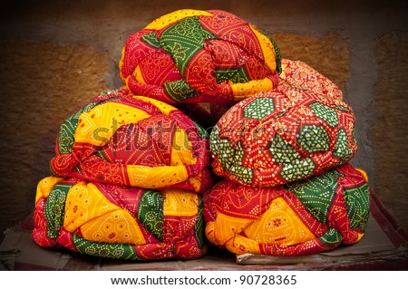 Beautiful decorated colorful turbans for sale in Jaisalmer, Rajasthan - stock photo