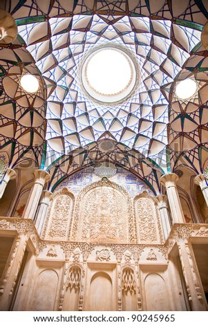 Beautiful decorated Dome of  Historic old house , Kashan, Iran - stock photo