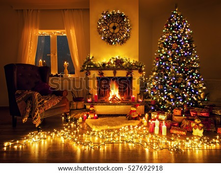 Beautiful Decorated Living Room Christmas Stock Photo Image
