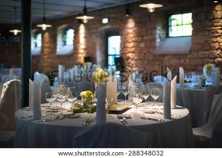 Beautiful decorated wedding table - stock photo