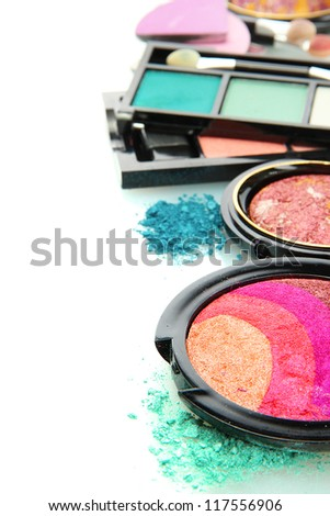 beautiful decorative cosmetics, isolated on white - stock photo