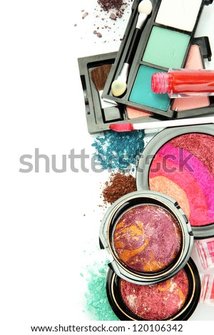 beautiful decorative cosmetics, isolated on white - stock photo
