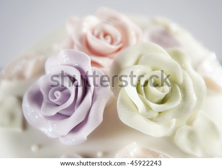 Beautiful decorative wedding cake roses - stock photo