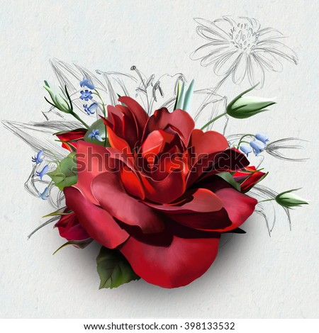 Beautiful deep red rose, on a white background with wildflowers in the background, and sketch a variety of beautiful flowers - stock photo