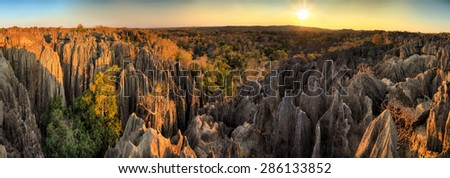 Beautiful 180 degree HDR panorama of the unique geography at the Tsingy de Bemaraha Strict Nature Reserve in Madagascar - stock photo