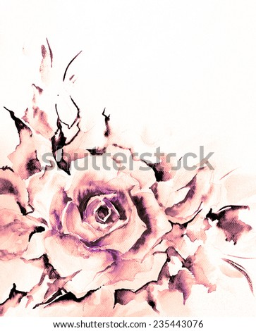 Beautiful delicate flower roses in soft cold violet and purple tones. Winter colors. Watercolor on textured paper - hand illustration. - stock photo