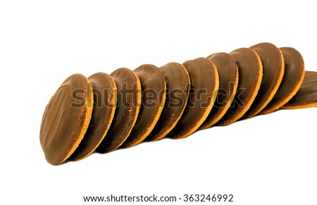Beautiful delicious cake cookies from biscuit dough with marmalade  - stock photo