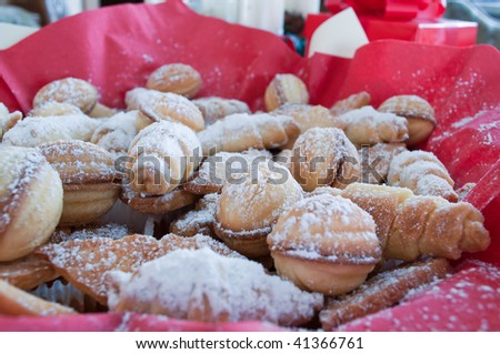 Beautiful, delicious Christmas cookies, that is covered with powdered sugar