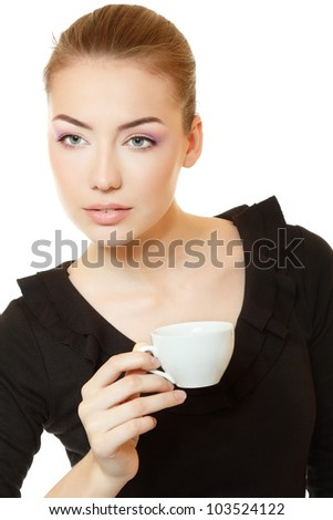 Beautiful delightful young woman in black dress with cup of tea or coffee. Isolated on white background - stock photo