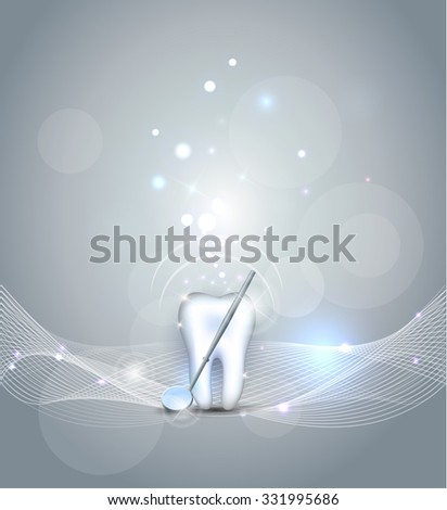 Beautiful dental background, healthy tooth and mirror - stock photo