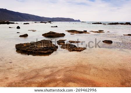 beautiful deserted rocky beach, Crete, Greece  - stock photo