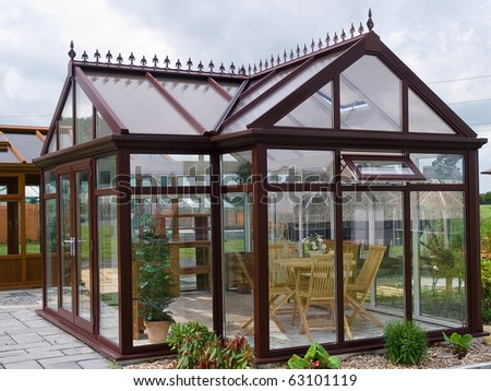 Beautiful Design Garden Wood Glass Pavilion With Stone Tiles Floor And  Furniture