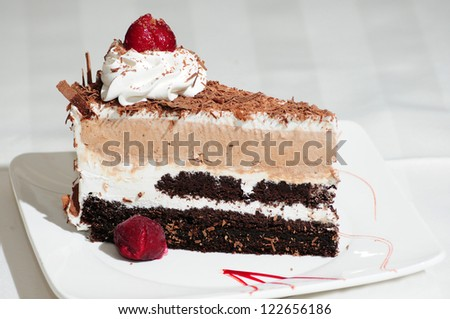 Beautiful dessert cake on white background - stock photo
