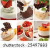 beautiful dessert collage made from six images - stock photo