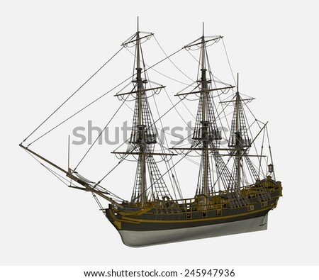 Beautiful detailed old Licorne ship isolated in white background - 3D render - stock photo