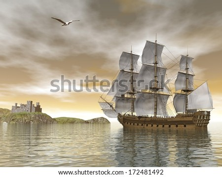 Beautiful detailed old merchant ship going back to castle and seagull flying around by cloudy sunset - stock photo