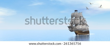 Beautiful detailed Pirate Ship, floating on the ocean surrounded with seagulls by day - 3D render - stock photo