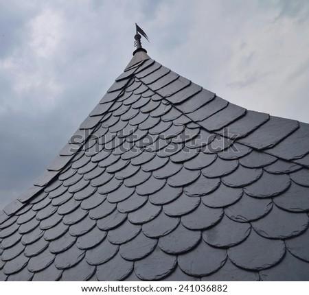 Beautiful detailed slate roof - stock photo