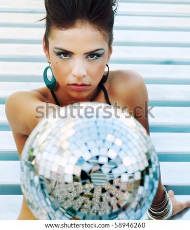 Beautiful disco diva futuristic club girl - stock photo