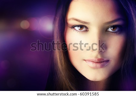 Beautiful Disco Girl Face.Perfect Skin - stock photo