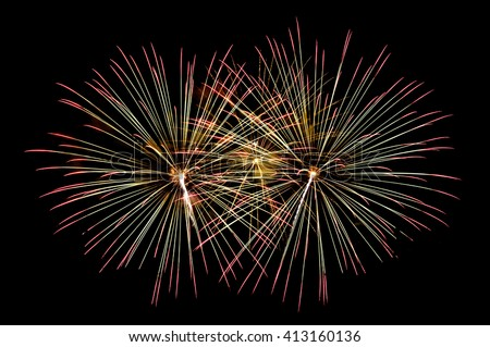 Beautiful display of colorful fireworks on a night sky background. isolated on black background.