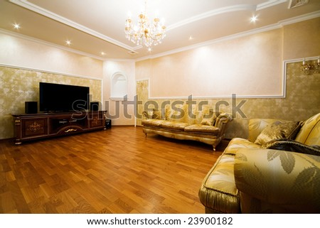 Beautiful divan in a room to rich apartment