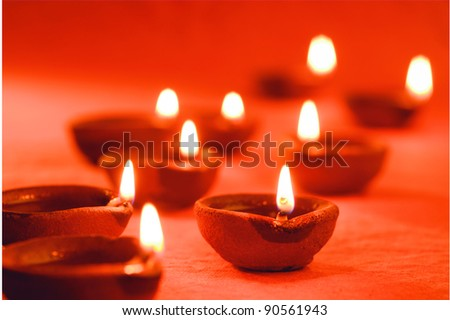 beautiful diwali diya, Diwali Oil Lamp - stock photo