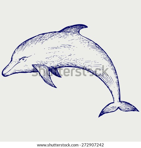 Beautiful dolphin jumping in the water. Doodle style. Raster version - stock photo