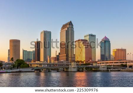 Beautiful downtown Tampa, FL twilight - stock photo