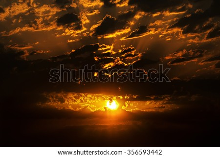 beautiful dramatic sunset  sky with  sun ,  sky background