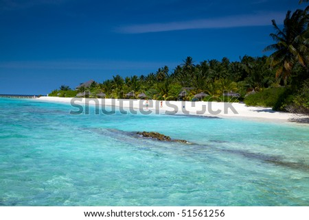 Beautiful dream beach in the Maldives! - stock photo