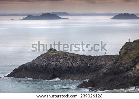 Beautiful dusk shot on a stormy day. In France  - stock photo