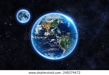 Beautiful Earth and the Moon - Elements of this Image Furnished By NASA - stock photo