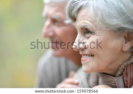 beautiful elderly couple on the background of autumn leaves - stock photo