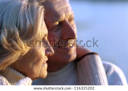beautiful elderly couple standing in an outdoor setting - stock photo