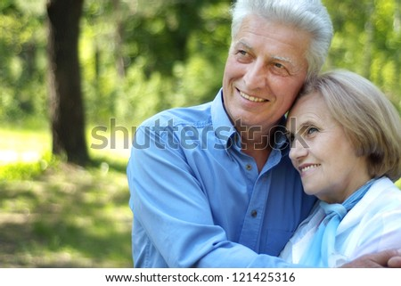 beautiful elderly couple together in a summer park - stock photo