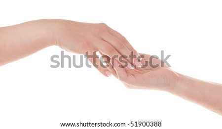 Beautiful elegance female hand with nice french manicure in male hand. Isolated on white background