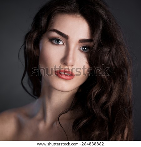 beautiful elegance lady woman sensual face gray eyes studio portrait professional light nature romantic wellness makeup gloss hair brunette luxury background french - stock photo