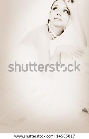 Beautiful elegance woman, Retro style - stock photo
