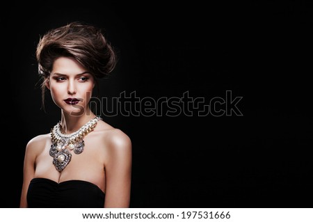 beautiful elegant sexy female model with luxury accessories - stock photo
