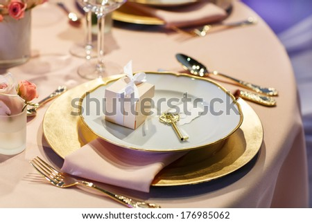 Beautiful elegant table set  for wedding or event party - stock photo